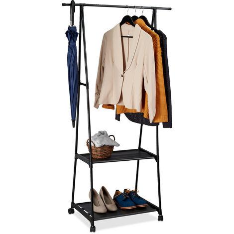 Portant, porte-manteaux à roulette, 2 surfaces de rangement, couloir dressing, HxlxP: 159x85x44 cm, noir