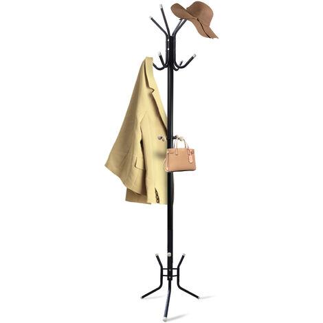 Portant pour Manteaux et Chapeaux, Portemanteau, Noir, Dimensions: 50,0 x 50,0 x 177,8 cm