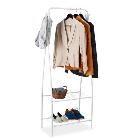 Portant vêtement métal, Penderie, porte-manteaux, 2 étages rangement, 4 crochets, 158 x 60 x 33 cm, blanc