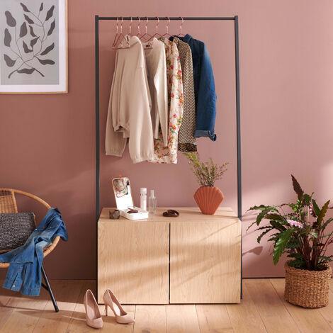 Portant vêtements en Bois et Métal Noir 90 cm - ALTA - Bois clair