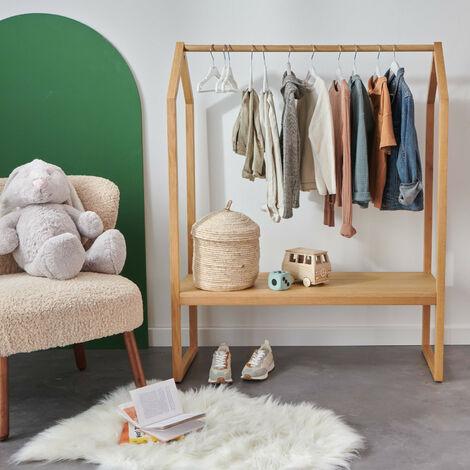 Portant vêtements enfant Bois 100 cm - HOMY - Bois Clair