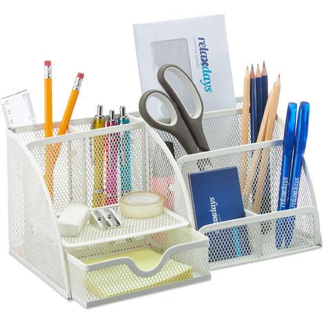 Organizer per ufficio in legno Desktop Caddy Pen Supporto multiuso Rack per occhiali da scrivania A4 Documenti Blocchetti per appunti Penna per carte Portamatite Cancelleria Facile assemblaggio