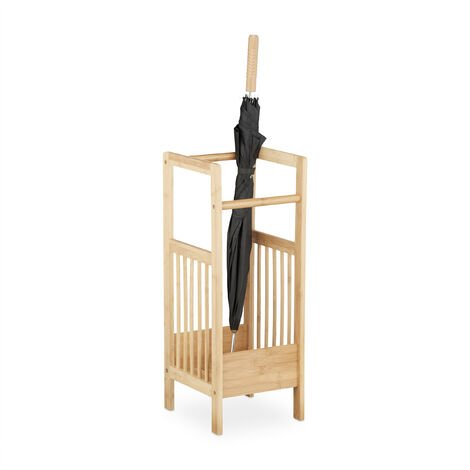 Portaombrelli, base quadrangolare, in bambù, 2 maniglie, HxLxP ...