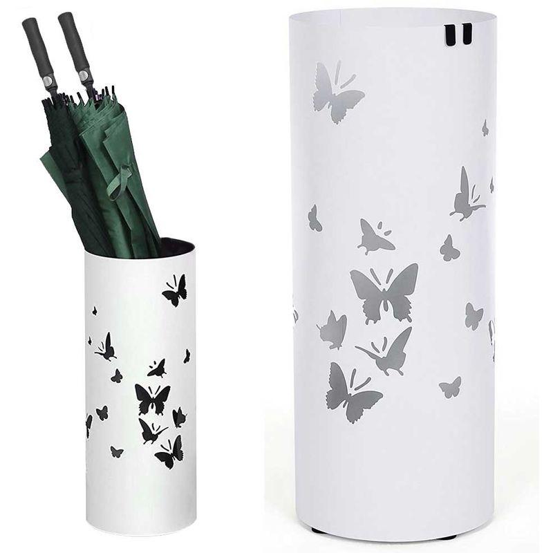 Portaombrelli in Ferro Design Rotondo Stand Nero con Vaschetta Salvagoccia e Gancetti Porta Ombrelli con Intarsi a Farfalla