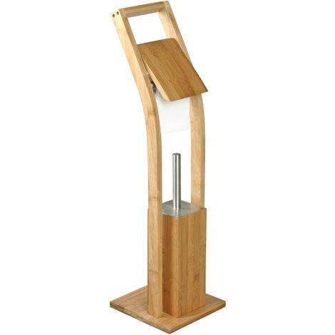 Portarrollo y escobilla de baño MSV de Bambu 20 x 20 x 73 cm