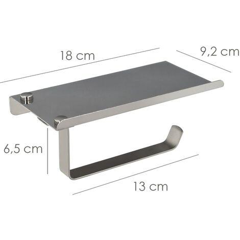 """main image of """"Portarrollos baño con estante para moviles autoadhesivo color inox con efecto espejo autoadhesivo resistente o con tornillos"""""""