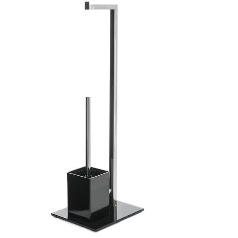 Portarrollos con escobilla negro de metal de 22x18x71 cm