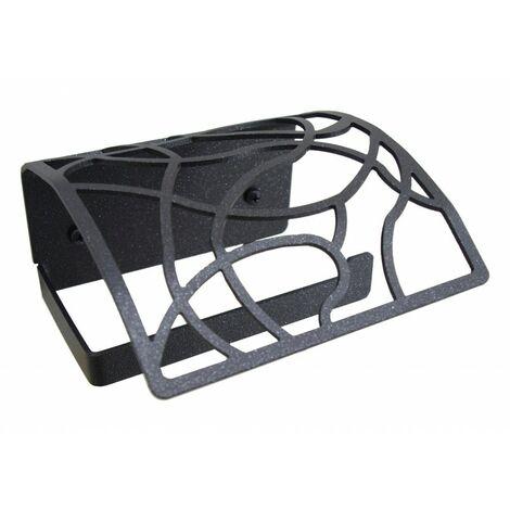Portarrollos con tapa Art Déco Negro forja fijación opcional con adhesivo - CM Baños