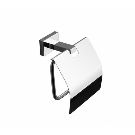 Portarrollos con tapa Capri, de latón cromado brillo, fijación opcional con adhesivo - CM Baños