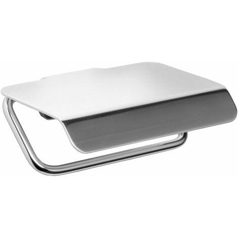 Portarrollos con tapa TATAY de aluminio anodizado. Doble sistema de fijación, tornillos y Glue & Fix