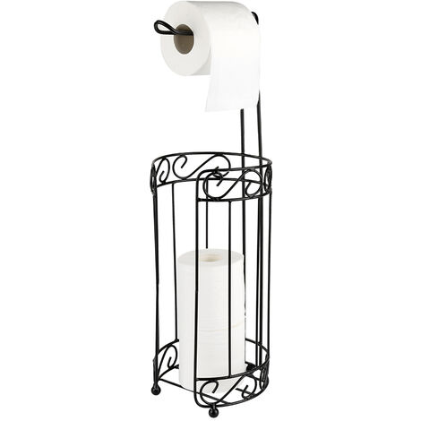 Portarrollos de papel higiénico autoportante – Porta rollos de pie con lugar para 4 rollos de papel higiénico | inoxidable cepillado