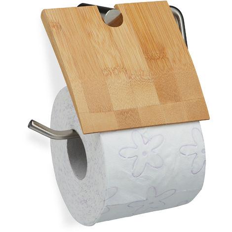 Portarrollos de papel higiénico, Soporte de bambú, Montaje a la pared, 16x16,5 cm, Marrón