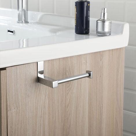 Portarrollos lateral para mueble de baño o cisterna sentido horizontal. Se cuelga con adhesivo. Fabricado en acero inoxidable con acabados en cromo brillo. Repuestos originales garantizados Kibath