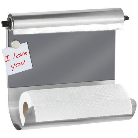 Portarrollos magnético con dispensador de film transparente gris