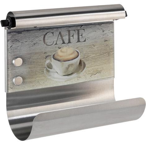 Portarrollos magnético con dispensador de papel aluminio Café WENKO