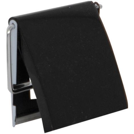 Portarrollos MSV de acero inoxidable y MDF en color negro 13 x 15 x 11,5 cm
