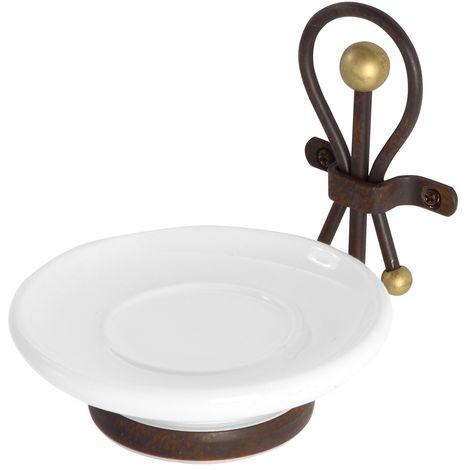 Portasapone in Ceramica e Ferro Battuto Finitura Bronzo