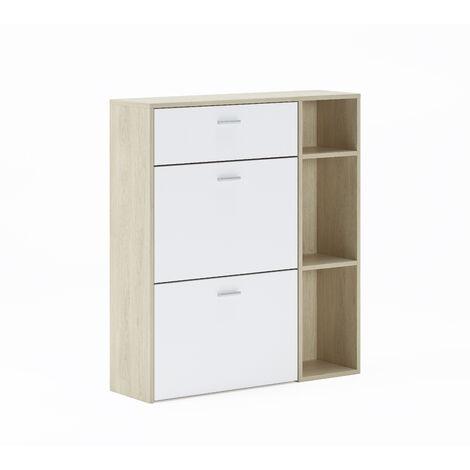 Portascarpe WIND, colore struttura Puccini, colore Bianco nelle 2 porte basculanti e nel cassetto, misura 90x26x101,5cm di altezza.