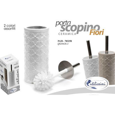 takestop/® PORTASCOPINO in Ceramica Bianco Mosaico Rilievo ESY/_011 Porta SCOPINO Spazzola SCOPETTINO da Bagno WC IGIENIZZATO Pulito