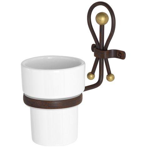 Accessori Bagno In Ferro Battuto E Ceramica.Portaspazzolino In Ceramica E Ferro Battuto Linea Golden Rust