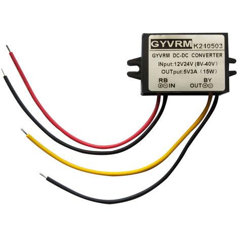 Portatil convertidor DC / DC regulador, 12V / 24V De bajada a 5V 3A 15W ahorro de energia Transformador