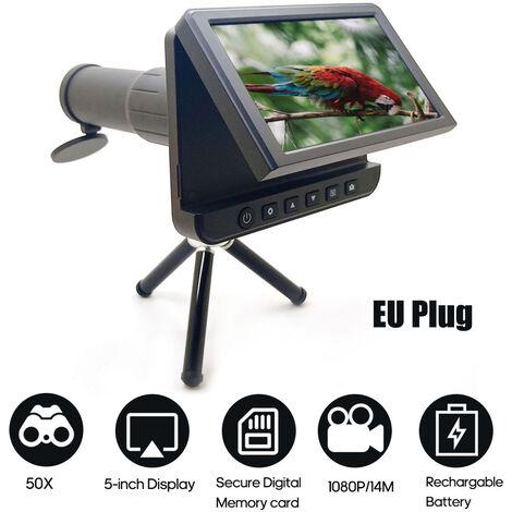Portatil de alta definicion camara del telescopio foto video grabacion digital al aire libre camara monocular con 5 pulgadas de pantalla digital LCD, enchufe de la UE