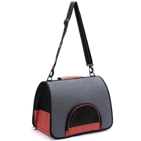 Portatil de gatos domesticos Perros gato portador del animal domestico bolsa de viaje Disenado para los que va de excursion al aire libre para caminar dentro de 4 kg de peso, gris y naranja
