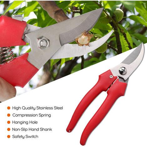 Portatil multifuncion de acero inoxidable Tijeras de podar multiproposito roja de la mano cana codo Orchard Shears, Rojo