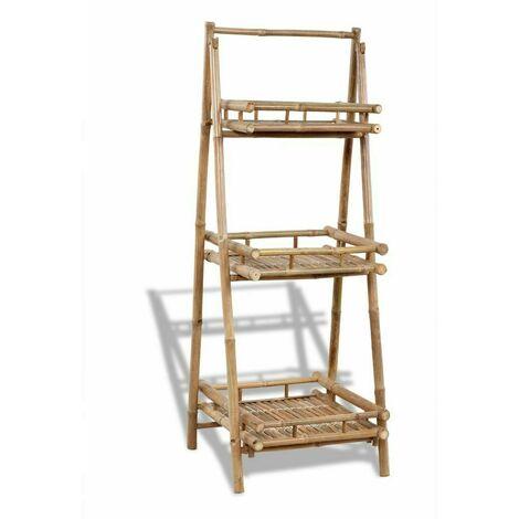 """main image of """"Portavasi in legno per piante con 3 mensole in legno di bambù 56x50x145 marrone"""""""