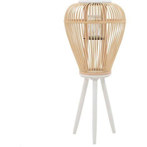 Portavelas de pie bambú natural