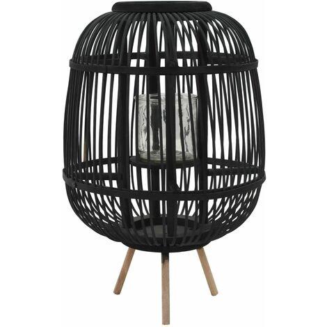 Portavelas de pie bambú negro