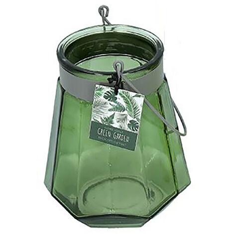 Portavelas Decorativo de Cristal, Grande, con Asa, ideal para Jardín. Diseño Original, con estilo Decogarden - Hogar y Más verde oscuro