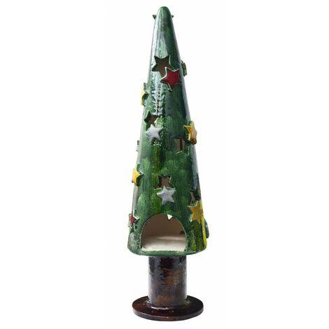 Portavelas Decorativo Grande de Cerámica, Diseño Navideño/Árbol de Navidad. Ideal para Decoración 50x14x14 cm