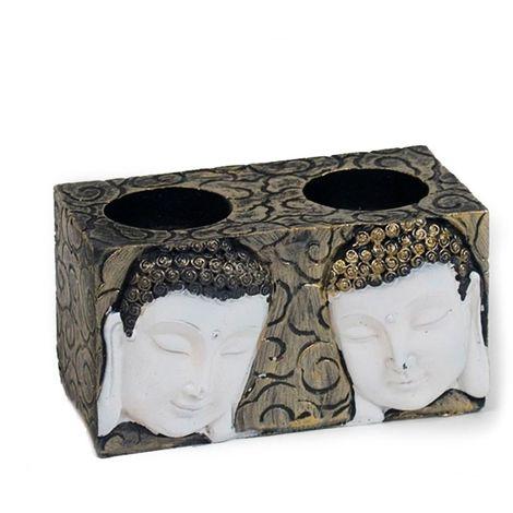 Portavelas doble buda norbu, candelabro resina 13 cm.