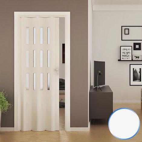 Porte Pliante Accordeon Blanc En Pvc Verre Opaque 88 5x214cm Mod