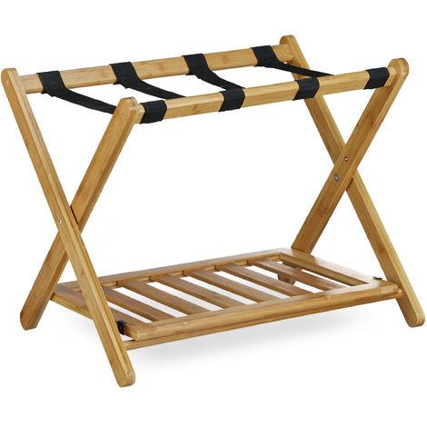 Porte-bagage pose valise pratique HxlxP: 53 x 68 x 53 cm support de bagage en bois de bambou avec 4 sangles sac de voyage vacances espace de rangement accessoire hôtel, nature