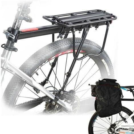Porte Bagage Vélo Arrière Transporteur Porte-Bagages VTT Universel en Aluminium Capacité de 50kg Siège arrière