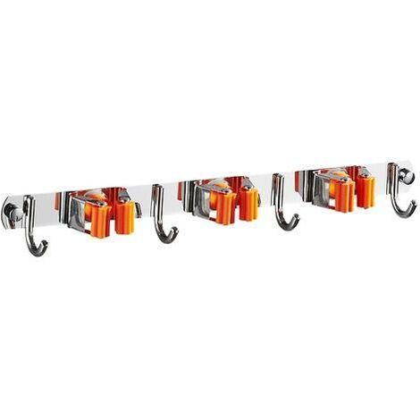 Porte Balai Mural, Accroche Balai en Acier inoxydable, Support Cintre de Rangement pour Cuisine, Garage, Buanderie, 3 Emplacements et 4 Crochets (Orange)
