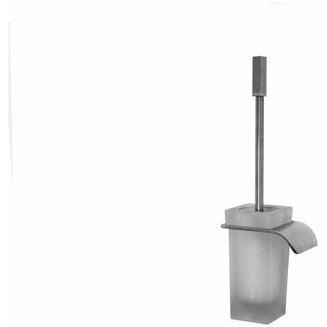 Porte-balai WC inox brossé avec verre de cristal mat