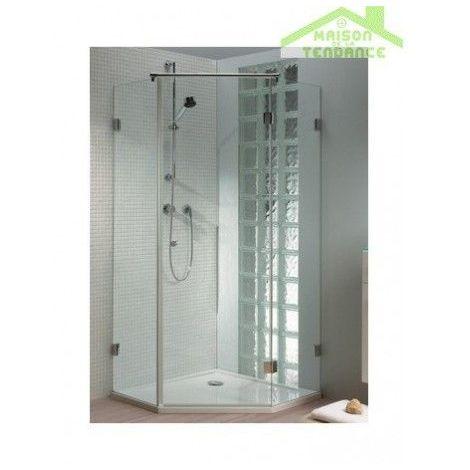 Porte battante pentagonale RIHO SCANDIC S301 en verre clair