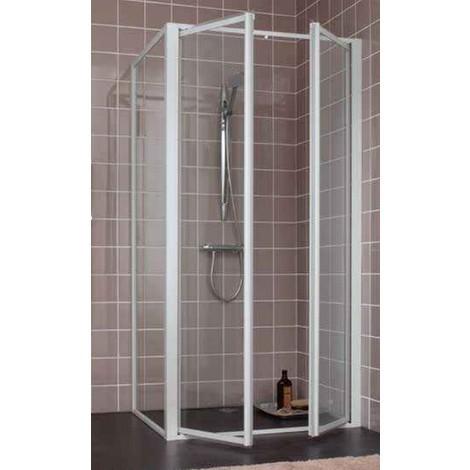 Porte battante réversible 2 vantaux L1000mm H1900mm vitrage granité pour douche fermée avec profilé blanc ATOUT2 LEDA L13ATB3121