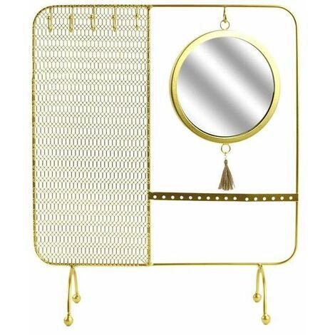 Porte bijoux avec miroir filaire - 35.5 x 30 cm - Doré - Livraison gratuite