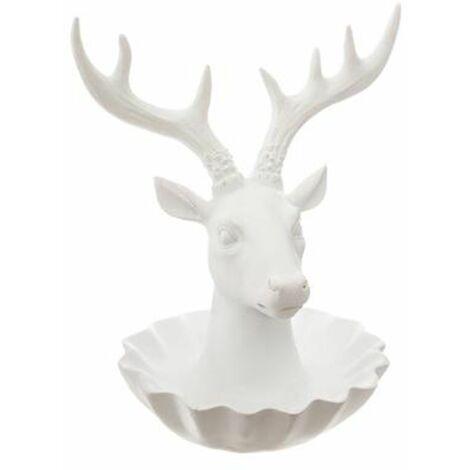 Porte-Bijoux Design Cerf 20cm Blanc