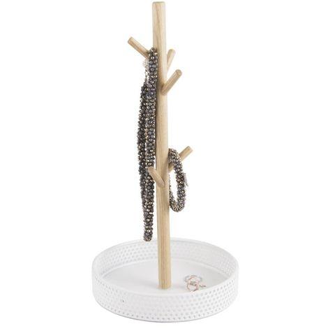 Porte bijoux en bois Merge - H. 31 cm - Blanc