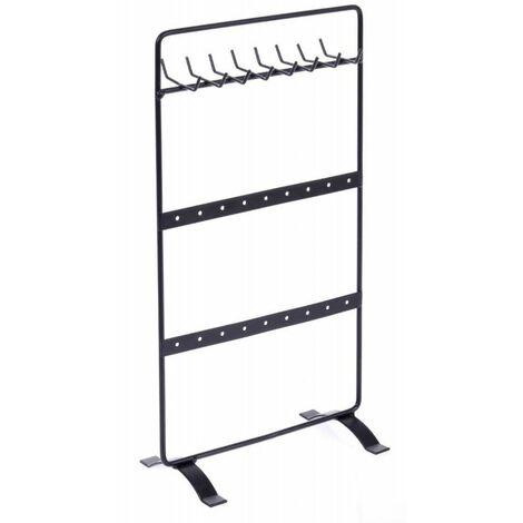 Porte bijoux en métal - Support à crochets noir - H 28 cm