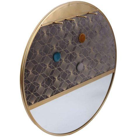 Porte-bijoux miroir rond Dorure 40.5 cm - Gris