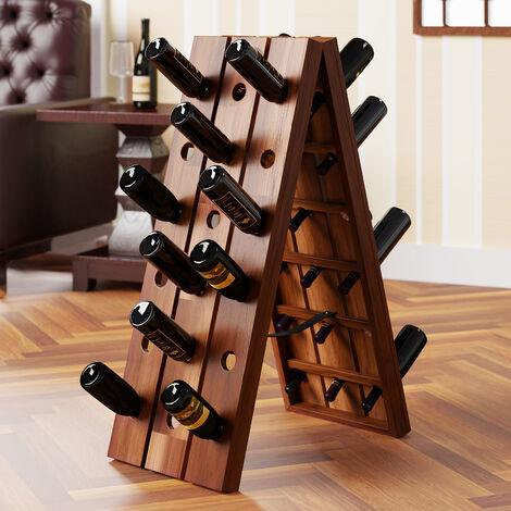 Porte-bouteilles casier de vin en bois d'acacia - 36 bouteilles - présentoir design