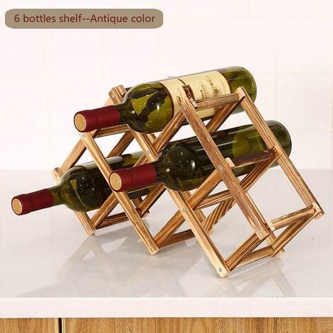 Porte-bouteilles en bois pliable porte-bouteilles porte-bouteilles etagere en bois organisateur de rangement pour vitrine retro