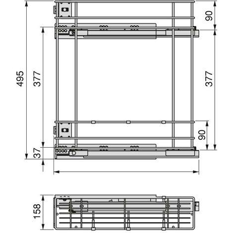 Porte-bouteilles extractible, module 150 mm, fermeture amortie, acier, gris anthracite - Gris anthracite