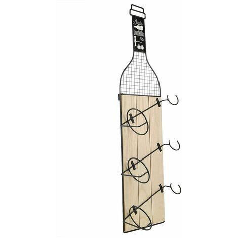 Porte bouteilles indus Bistrot - L. 21 x H. 83 cm - Noir - Noir